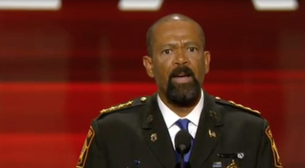 David Clakre, Jr., posing as a third world dictator at the 2016 Republican Convention.