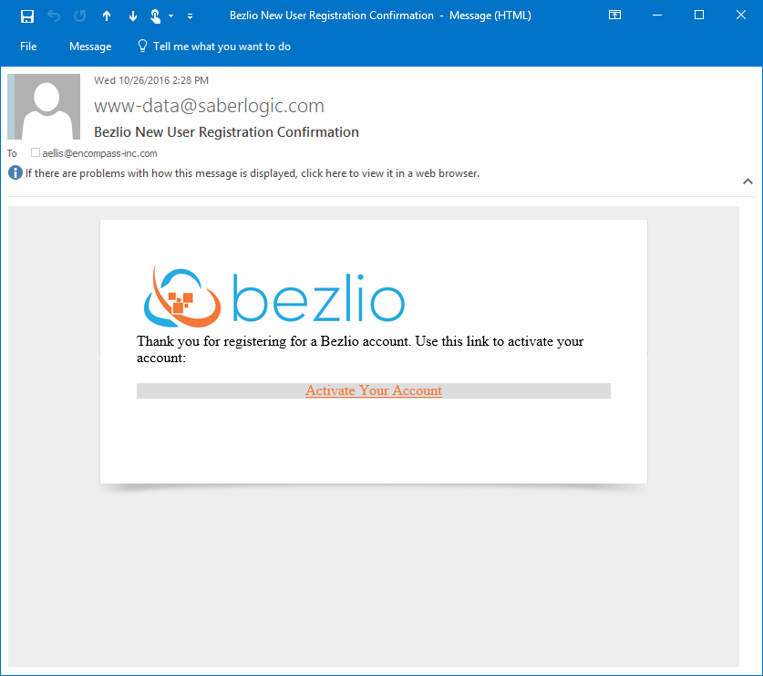 Screenshot of the email sent from Bezlio to activate your account.