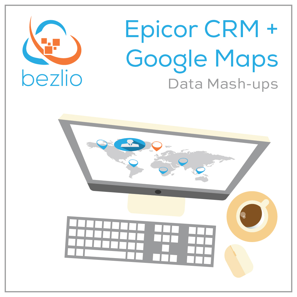 Illustrated graphic of a desktop computer running Bezlio which is integrating Epicor CRM with Google Maps to mash-up two unique data sources into one incredible tool for desktop, tablet, or smartphone users.