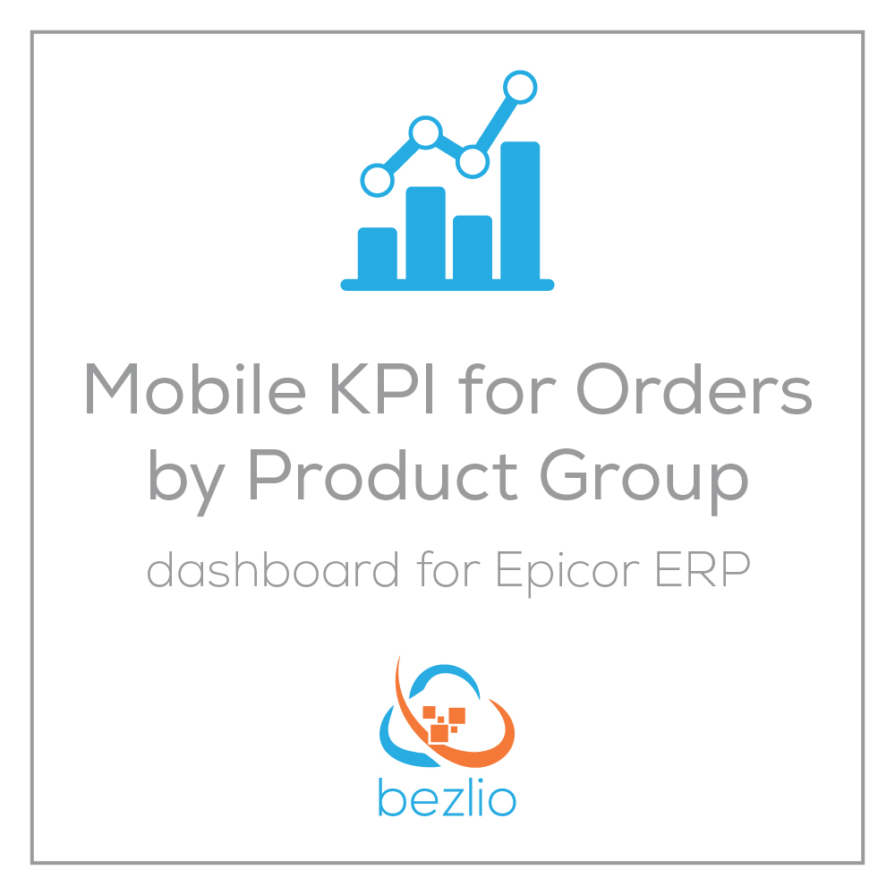 Illustration introducing the Bezlio app that provides Epicor ERP users with a mobile Epicor dashboard KPI for orders by product group on a mobile device like an iPhone, iPad or Android device.
