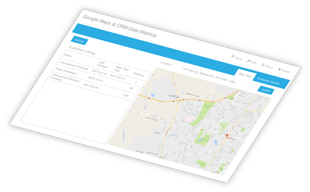 A screenshot of a Bezlio app that is a mash-up of data from two separate sources.  In this case, Google Maps and a CRM are combined to provide an incredible mapping tool for mobile sales reps.