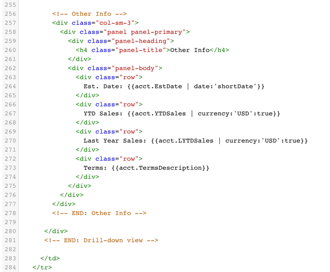 A screenshot of HTML code that is used when developing your own mobile apps for mobile sales teams using Bezlio.  Developers can build their own apps, KPIs, dashboards & analytics for any specific needs of your sales team.
