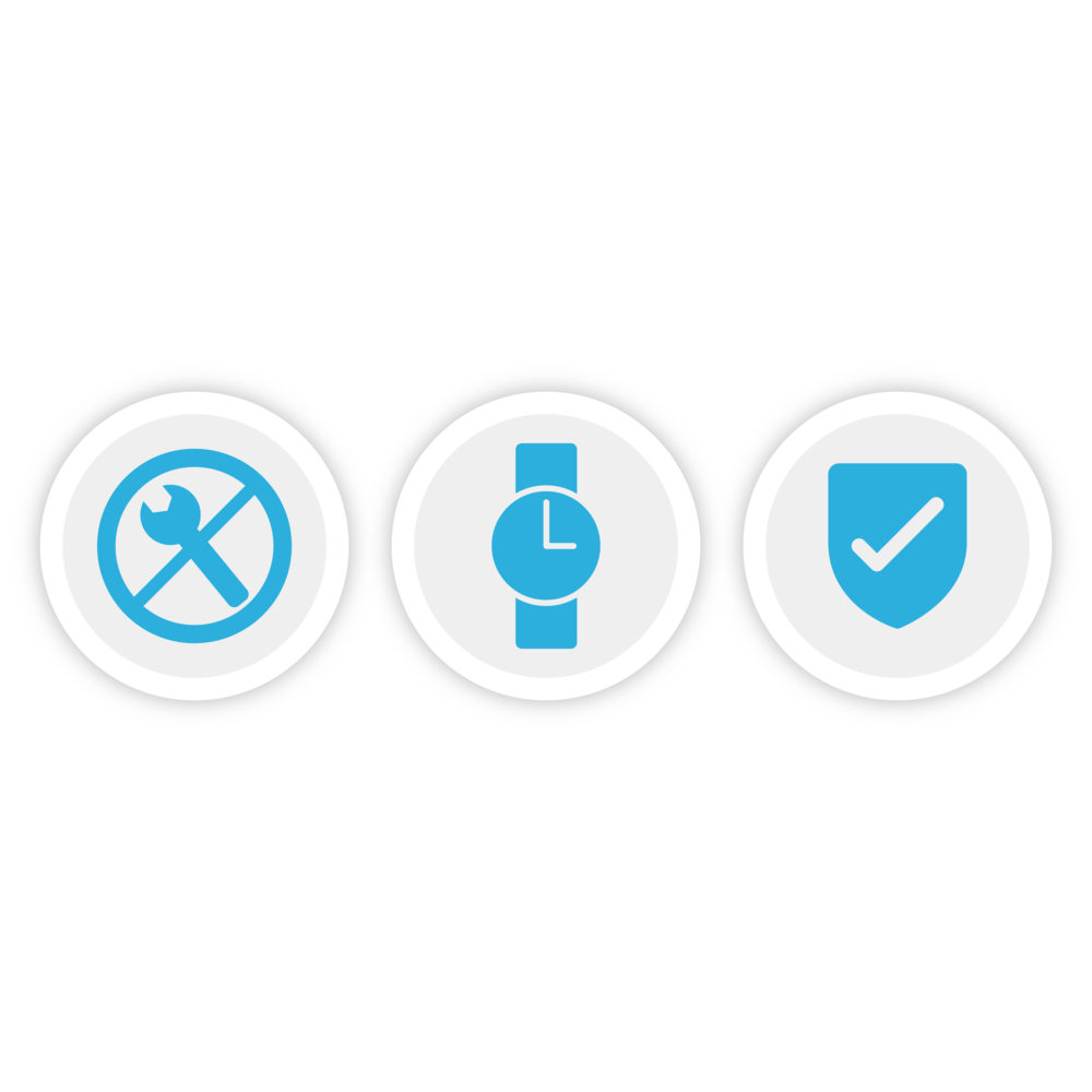 Illustration of three icons which represent Bezlio's ability to install quickly, require no maintenance as a Crystal Reports SaaS product, and high security levels.