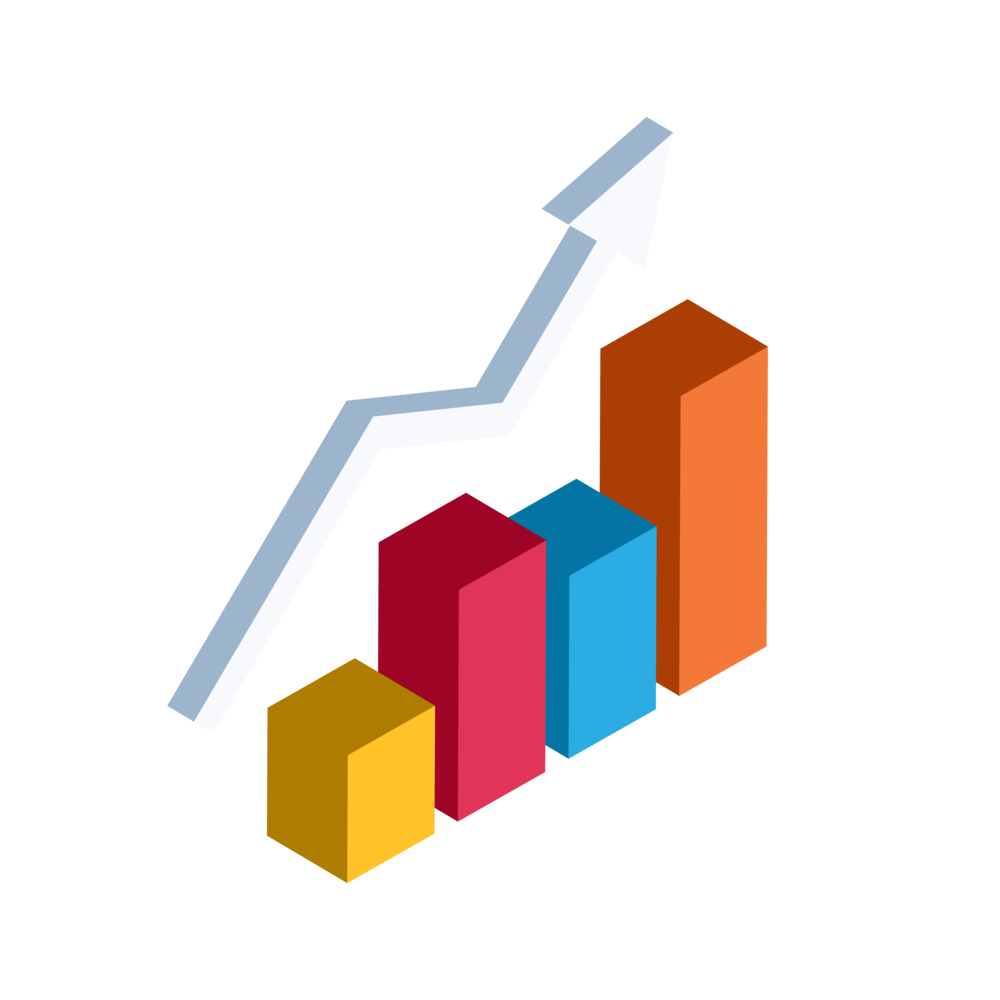 Illustration of a 3D bar chart with a trend line which represents Bezlio's ability for sales teams to drive new sales using the data from mobile CRM + ERP access.