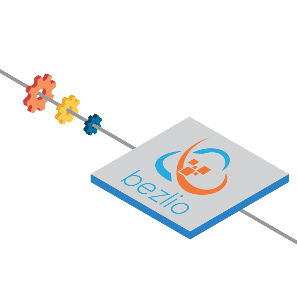 Isometric illustration of Bezlio BRDB and the plugins which reside inside of a corporate network, behind the firewall, and delivers the data to mobile users.