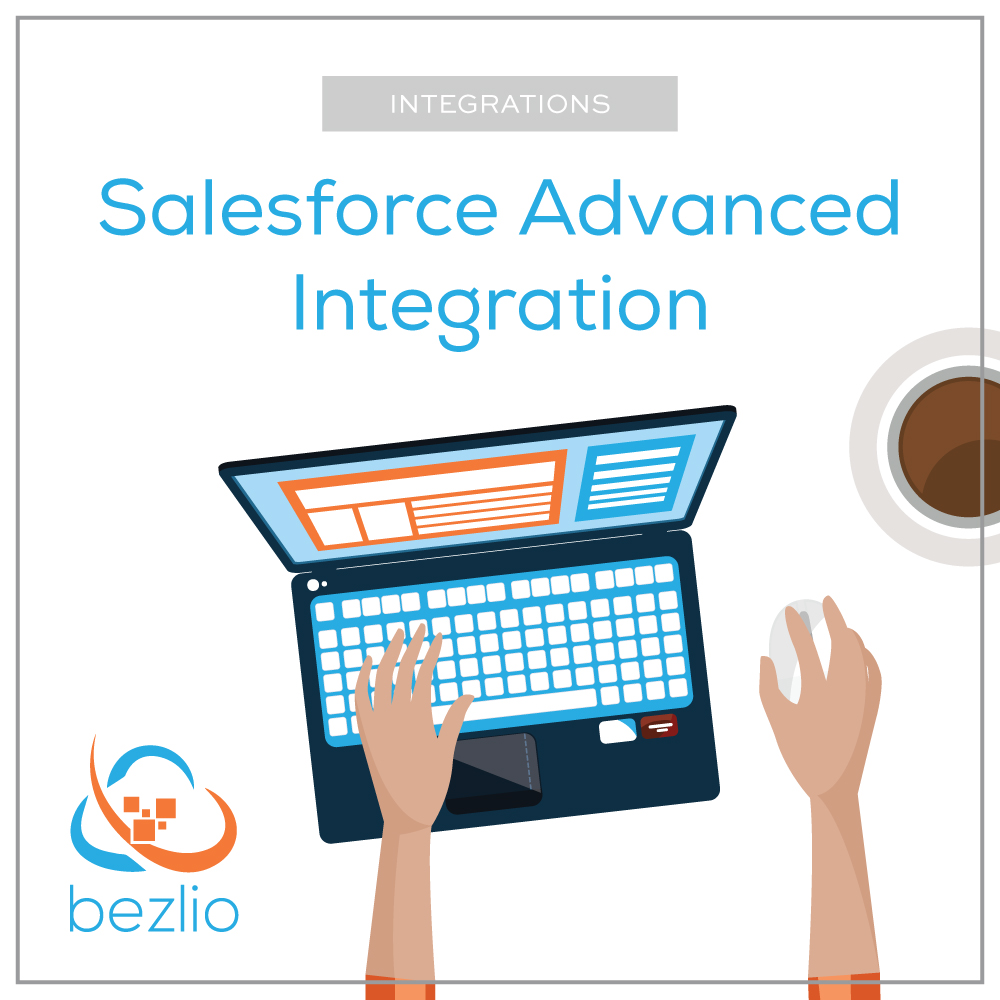 Illustration of someone using Bezlio to do a Salesforce integration with an ERP, application, or another datasource, with contextually aware data.