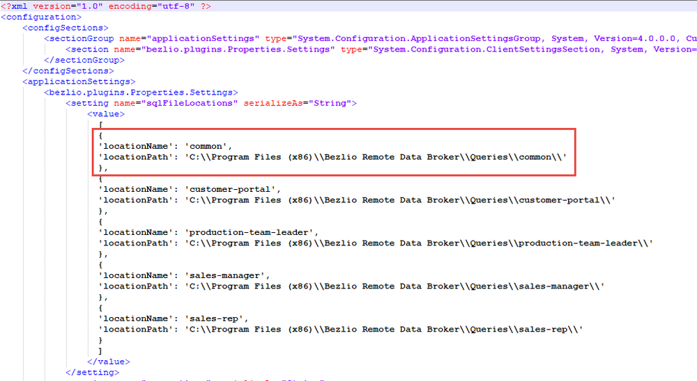 Screenshot of the SQL Server configuration file in Bezlio that allows you to define the folders where you are storing your queries.