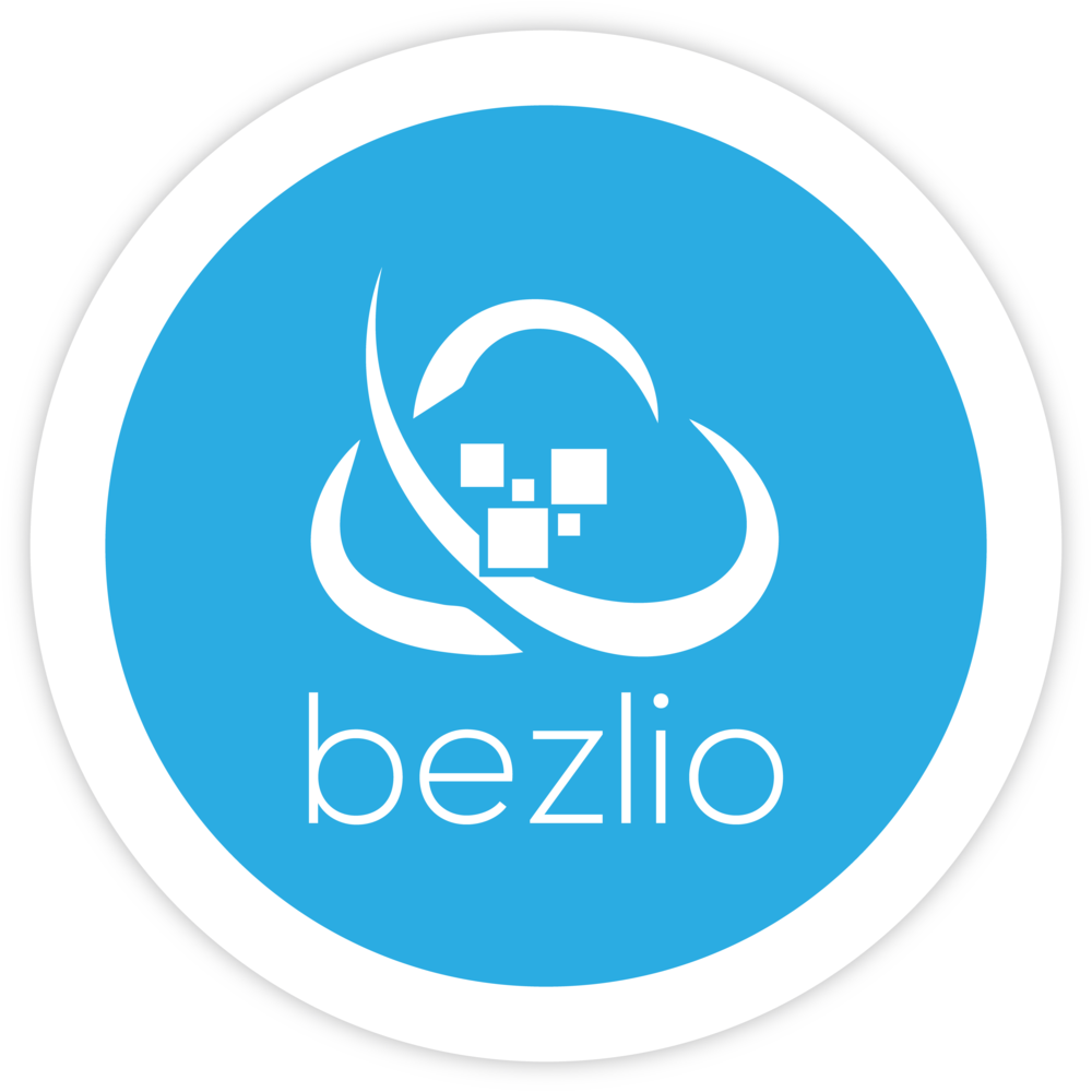 Bezlio logo with blue background and white glyph