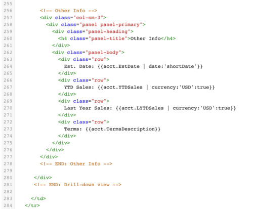 Image of HTML code thatBezlio uses to power the front-end data visualizations. This means that any developer with knowledge of HTMl can customize the display of data in Bezlio.