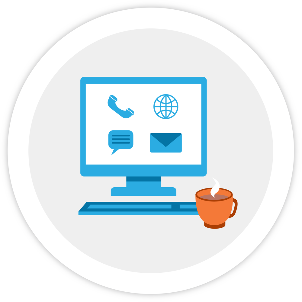 Illustration of a computer with icons for phone, web, chat, and email (and a cup of coffee), representing ways that resellers can communicate with us!
