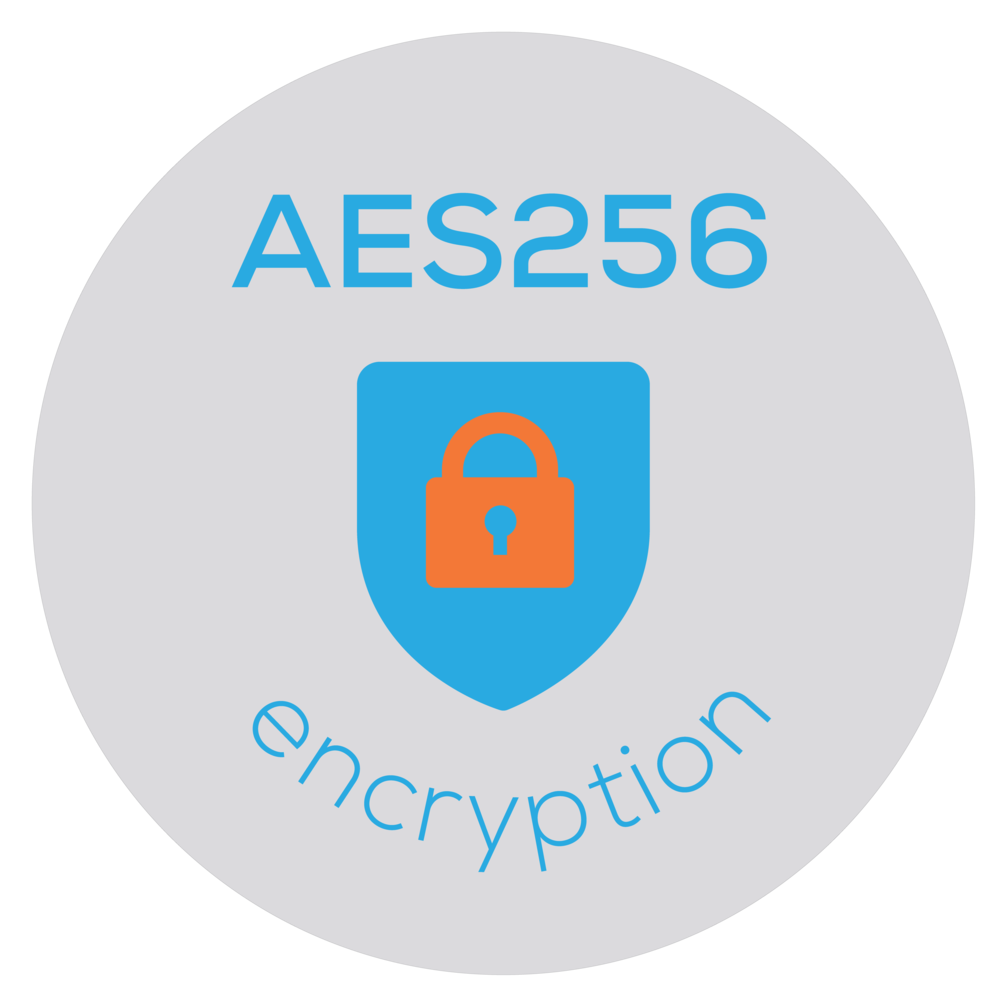 An illustrated badge that depicts Bezlio's encryption level to AES256 standards.