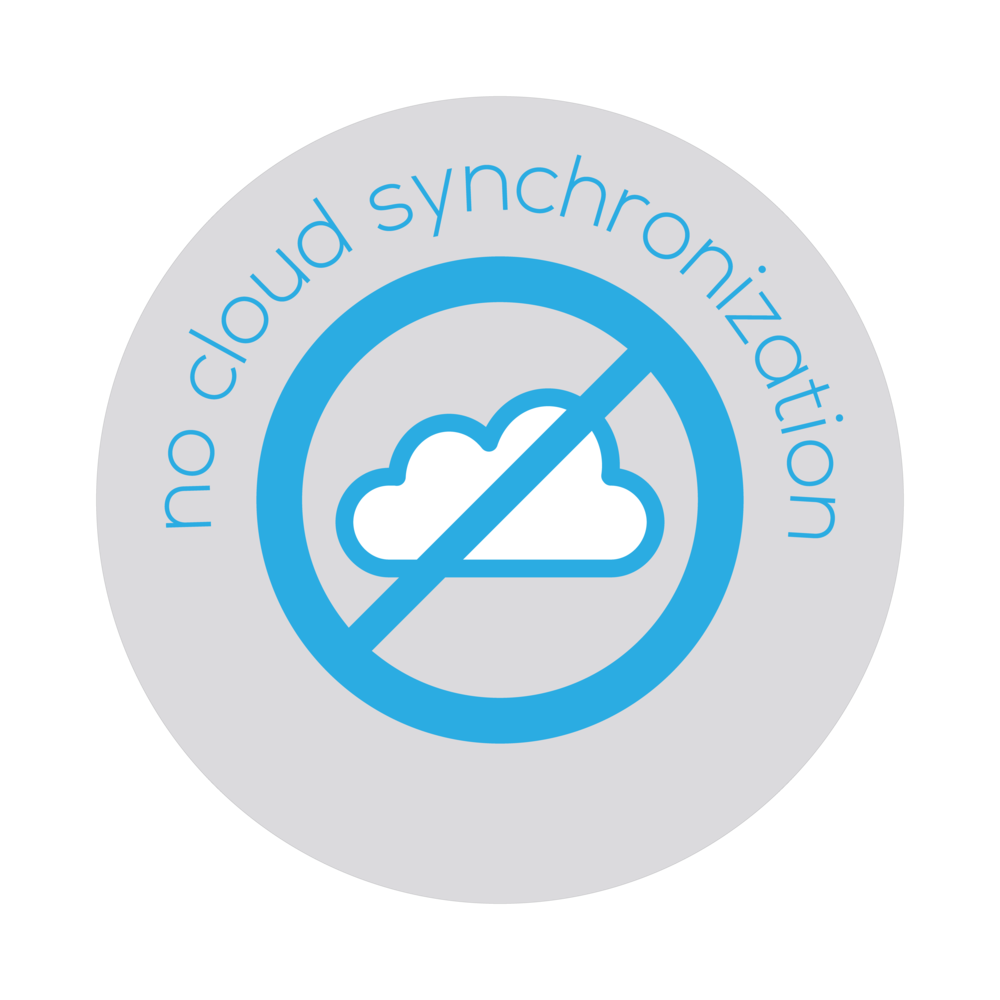 An illustrated badge that informs that Bezlio does not require you to synchronize your ERP or CRM data to the cloud.