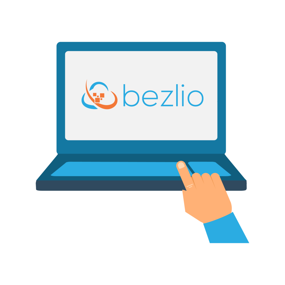 Illustration of a laptop with the Bezlio logo on the screen.