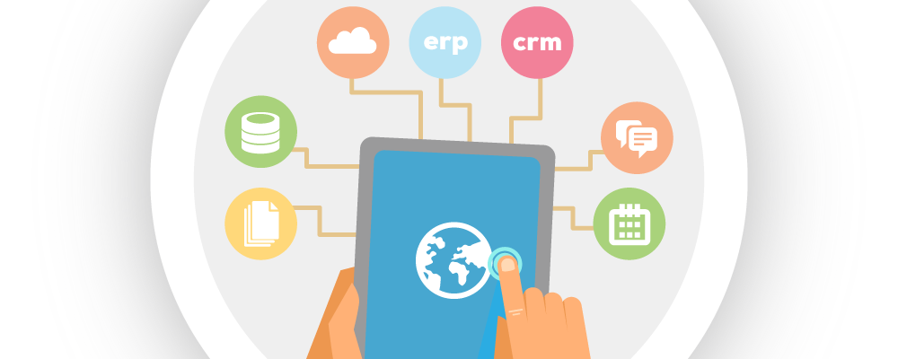 Illustration of a tablet surrounded by icons that represent multiple data sources. All of these data sources can be connected in real-time, including Epicor ERP, to your mobile device using Bezlio.