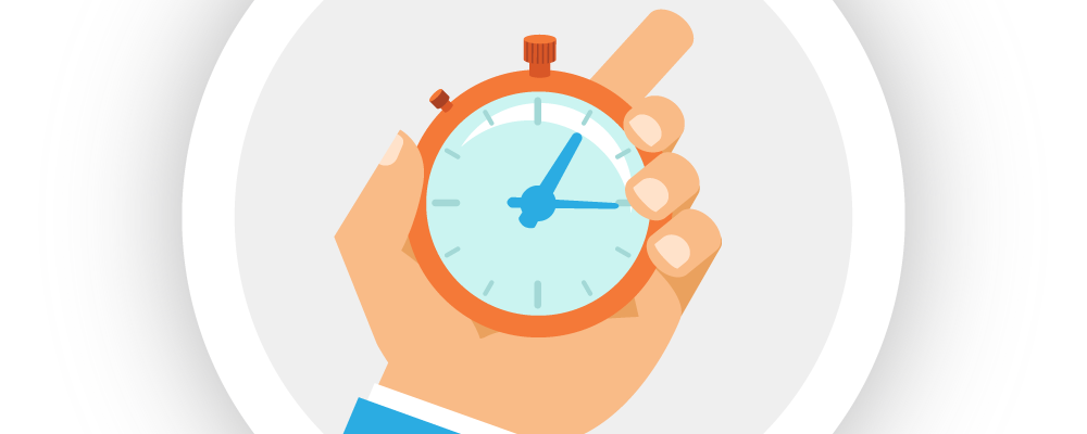 Illustration of a hand holding a stopwatch, representing Bezlio's ability to read Epicor ERP data in real-time.