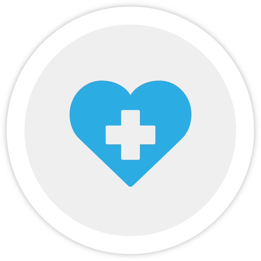 Illustration of a heart and cross, indicating Bezlio'd healthcare options to employees.
