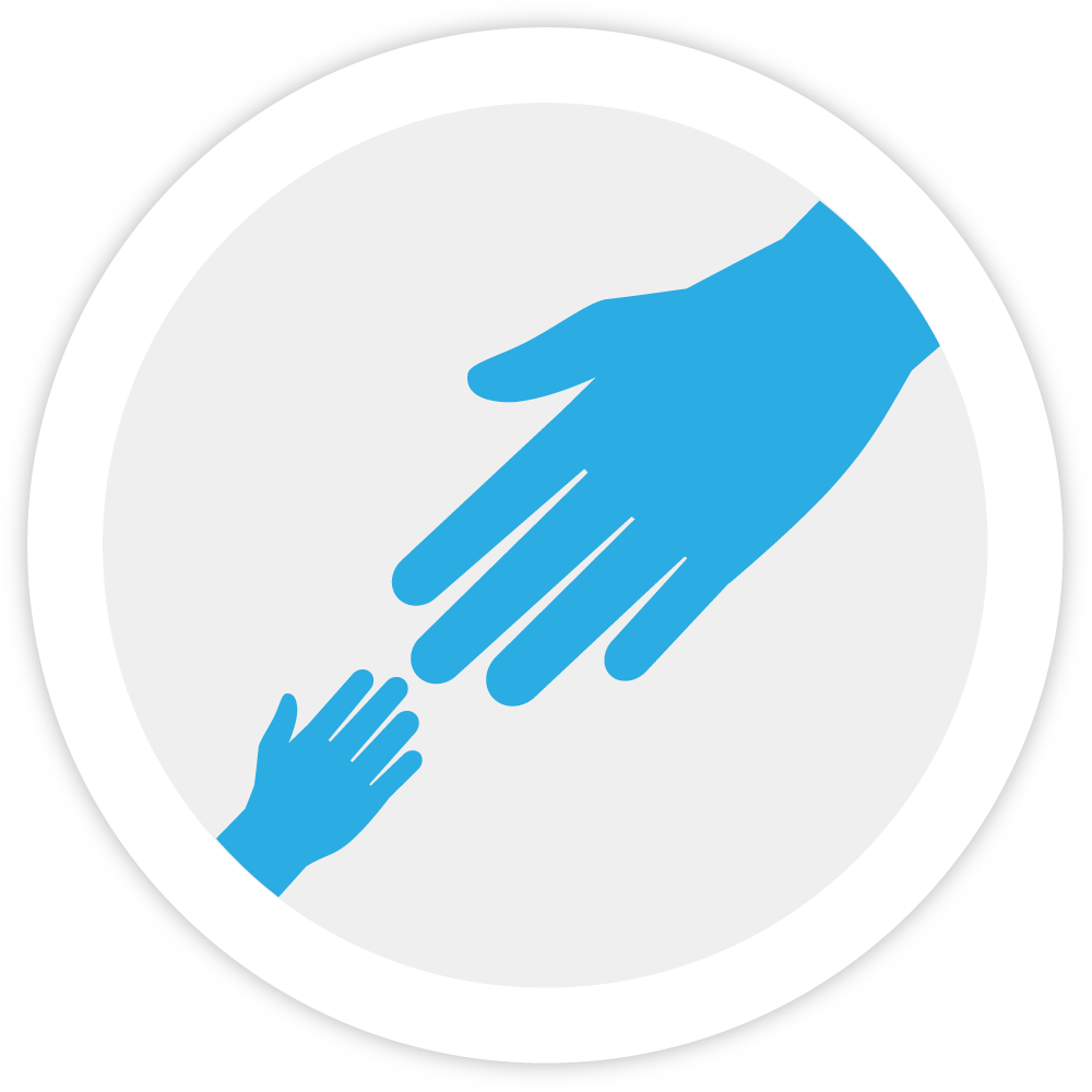 Illustration of a parent's hand reaching out to a child's hand, representing Bezlio's belief that respect for a balanced work life is important.