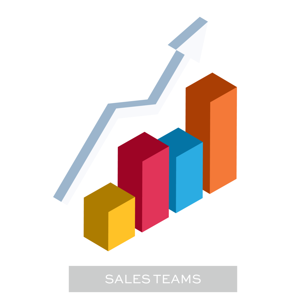 Illustration of a 3D bar chart that represents the area of the website that has step by step instructions for setting up Bezlio for Sales Teams.