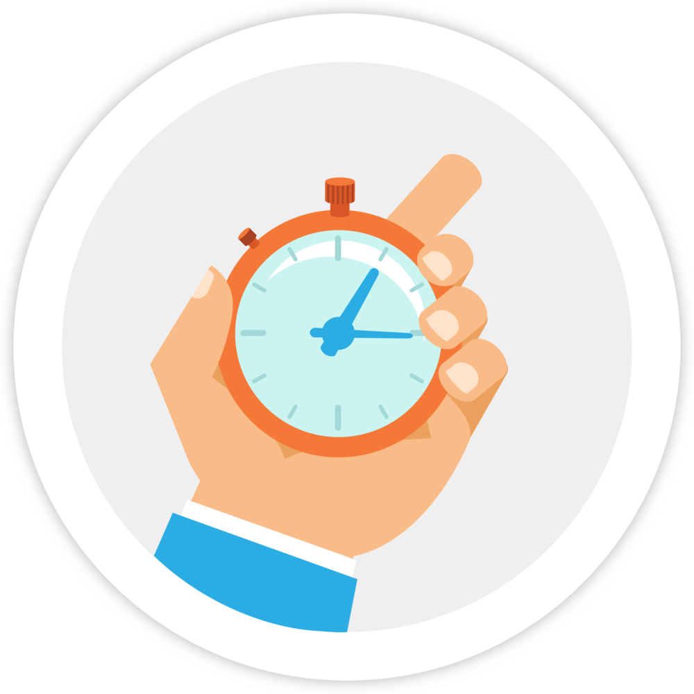 Illustration of a hand holding a stop watch, which represents Bezlio's ability to connect in real-time to any data source, in the cloud or on-premesis. This can be embedded into Tableau and provide real-time write back capabilities.