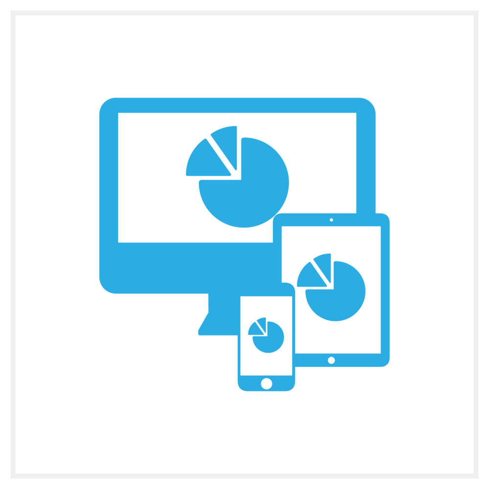 Illustration of a desktop monitor and two mobile devices with a pie chart on them, representing Bezlio's ability to display dashboards and analytics for any mobile device.