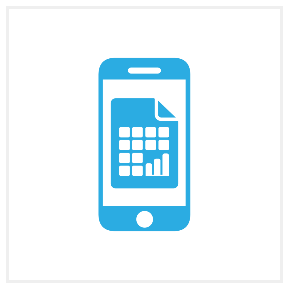 Illustration of a mobile phone with a document and chart on it, representing Bezlio's ability to display Crystal Reports on any mobile device.