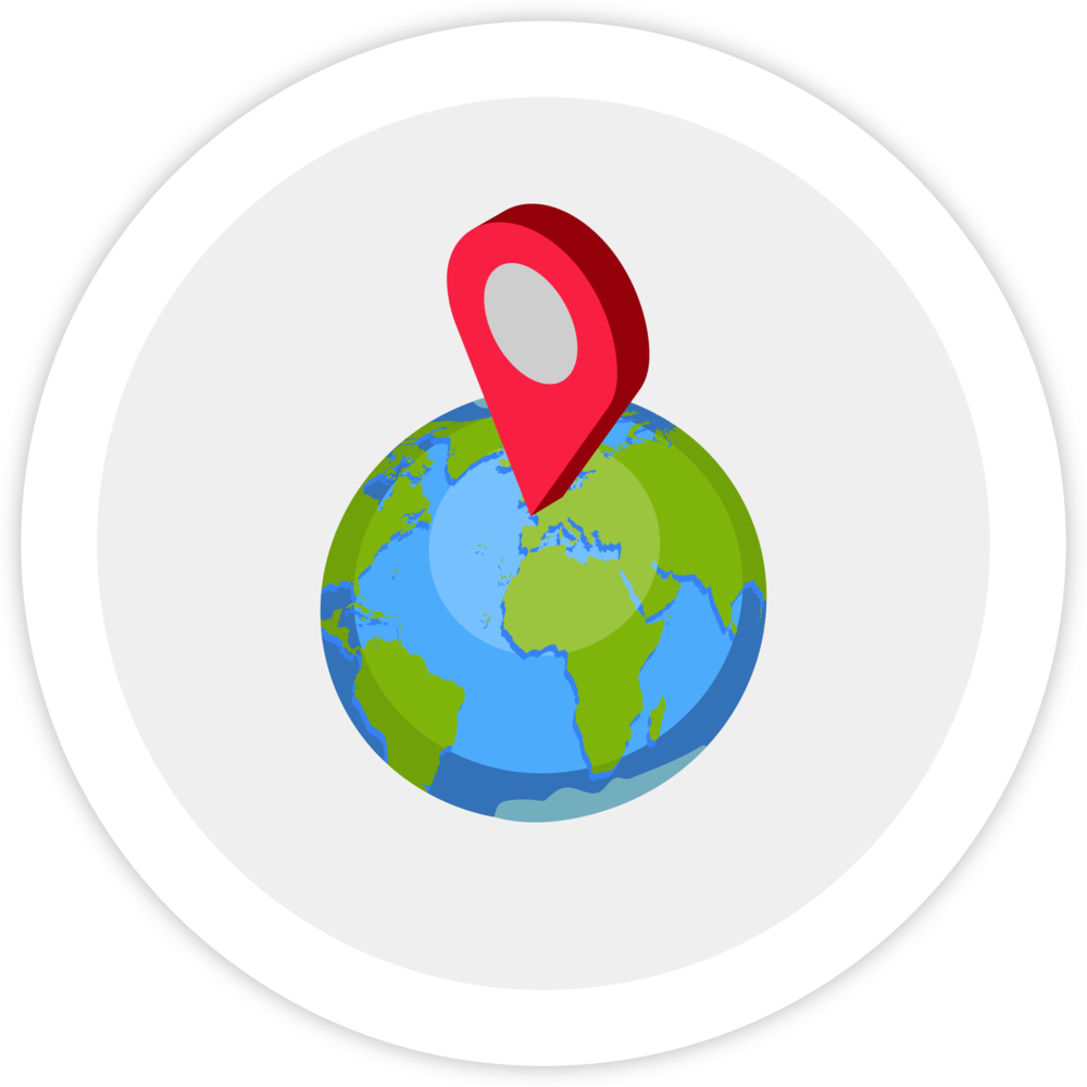 Illustration of the Earth with a map pin placed, to illustrate how Bezlio has Amazon Seller Central integration with sales orders to automatically import them into your ERP.