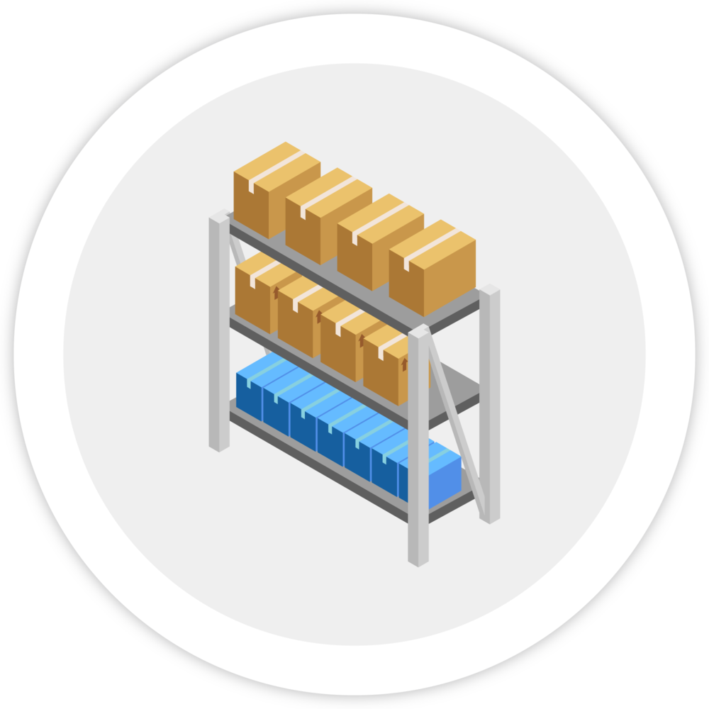 Illustration of a warehouse shelf with many boxes on top, which represents Bezlio's ability to have Amazon to ERP integration for part inventory.