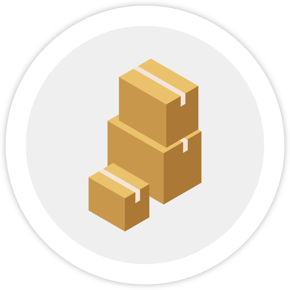 Illustration of three boxes of different sizes waiting to be shipped, which represents Bezlio's ability to integrate ERP shipments with Amazon to complete the order lifecycle.