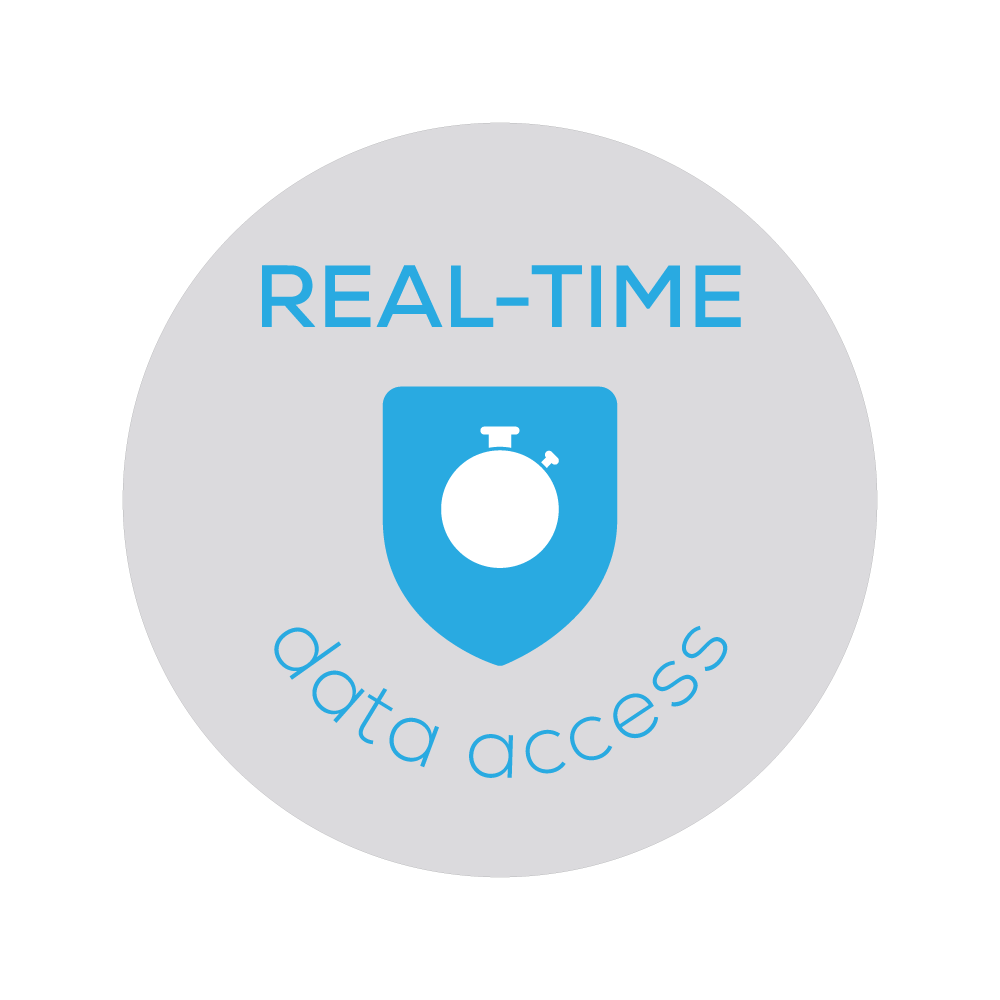 Badge of a stop watch that represents Bezlio's ability to read and transfer data in real-time.