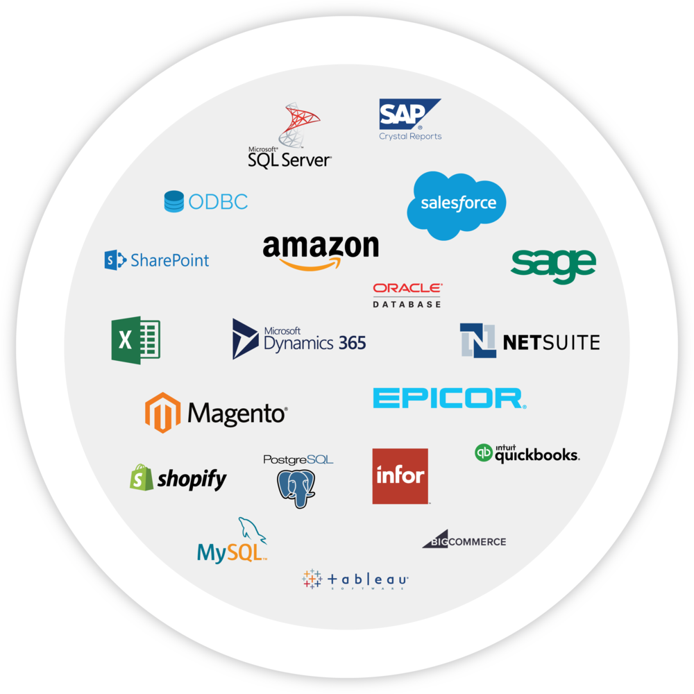 An image of many logos that represent on-premise and cloud applications that bezlio can communicate with as a no-code development platform.