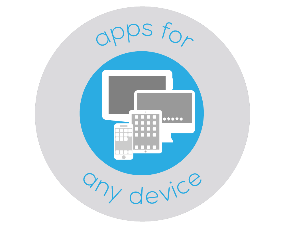 Illustrated badge that has images of four different devices which represents Bezlio's ability to have an app for any device.