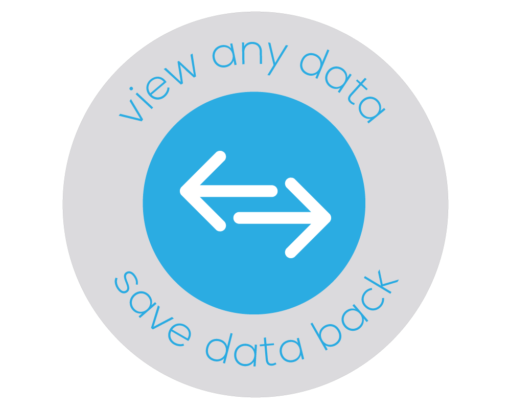 Illustrated badge that has two arrows pointing opposite directions which represents Bezlio's ability to read and write back to data source.