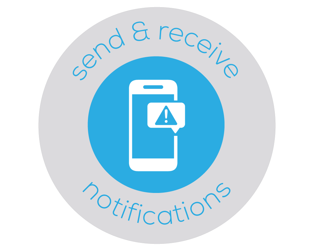 Badge with illustration of a mobile device with an alert displayed which represents Bezlio's ability to have mobile push notifications that can be triggered by users or by data changes and exceptions.