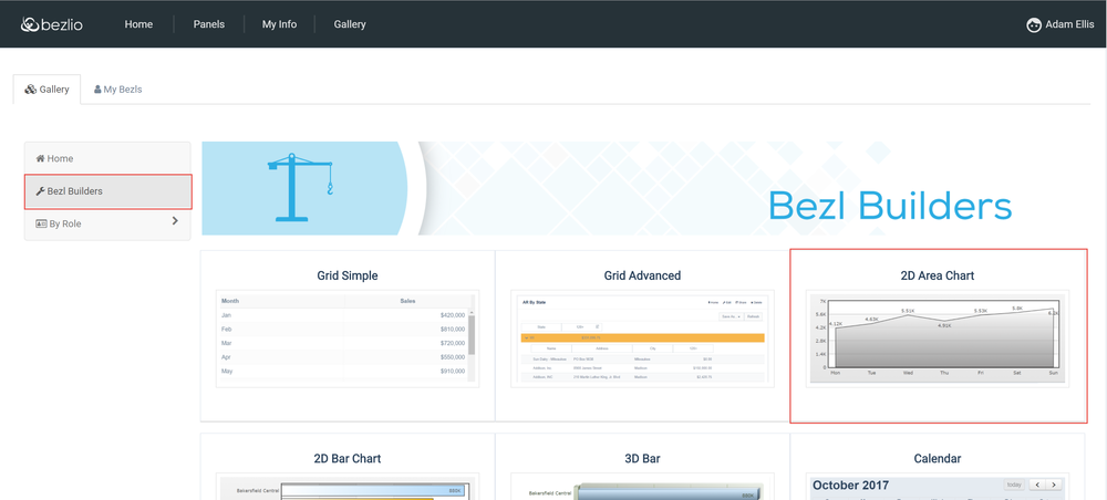Screenshot of the Bezlio admin portal where IT administrators can build self-service dashboards for mobile devices based on real-time data from an ERP or CRM.