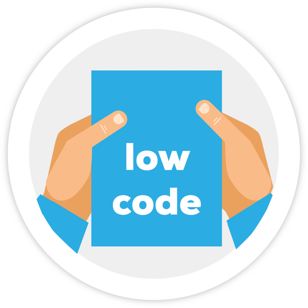 "Illustration of two hands holding a paper that says, ""low code"", which represents Bezlio's position as a low-code development platform for mobile dashboards and other applications."