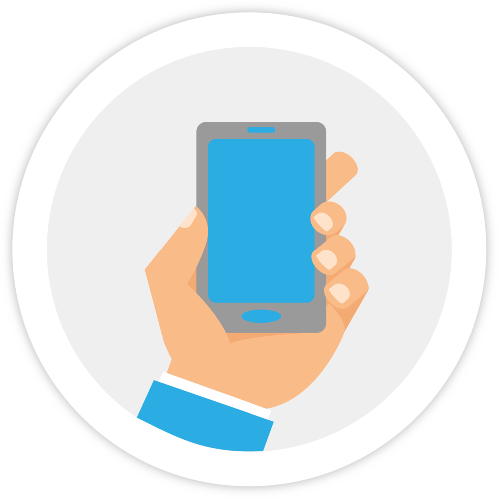Illustration of a hand holding a mobile device, which represents Bezlio's ability to give IT administrators the ability to serve enterprise data from on-premise or cloud systems to personal mobile devices. Bezlio's central management structure is perfect for BYOD implementations.