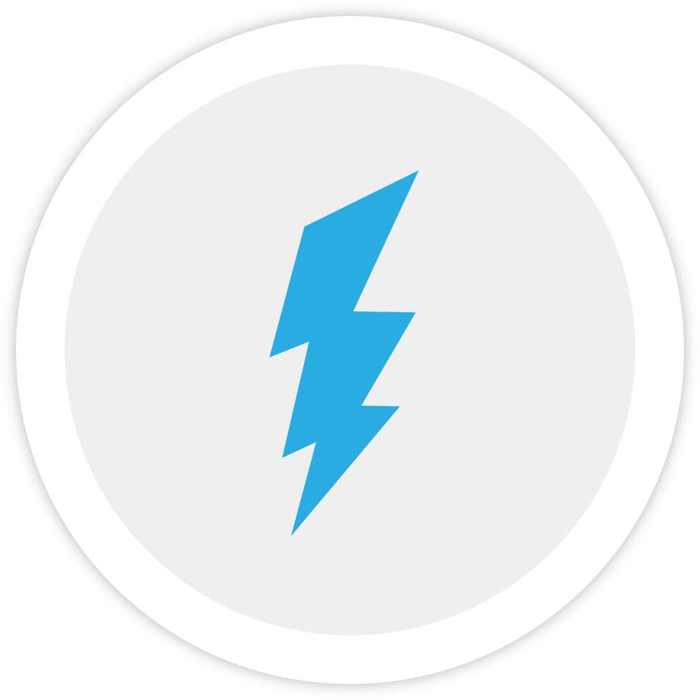 Illustration of a lightning bolt, which represents the ability of the Bezlio platform to read and write to on-premise or cloud data sources in real-time.