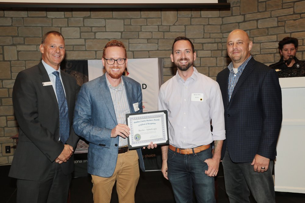 Adam and Brian Ellis accept the certificate of recognition for being nominated for 2018 Medina County Entrepreneur of the Year at the Blair Center in Westfield, OH. October 11, 2018.