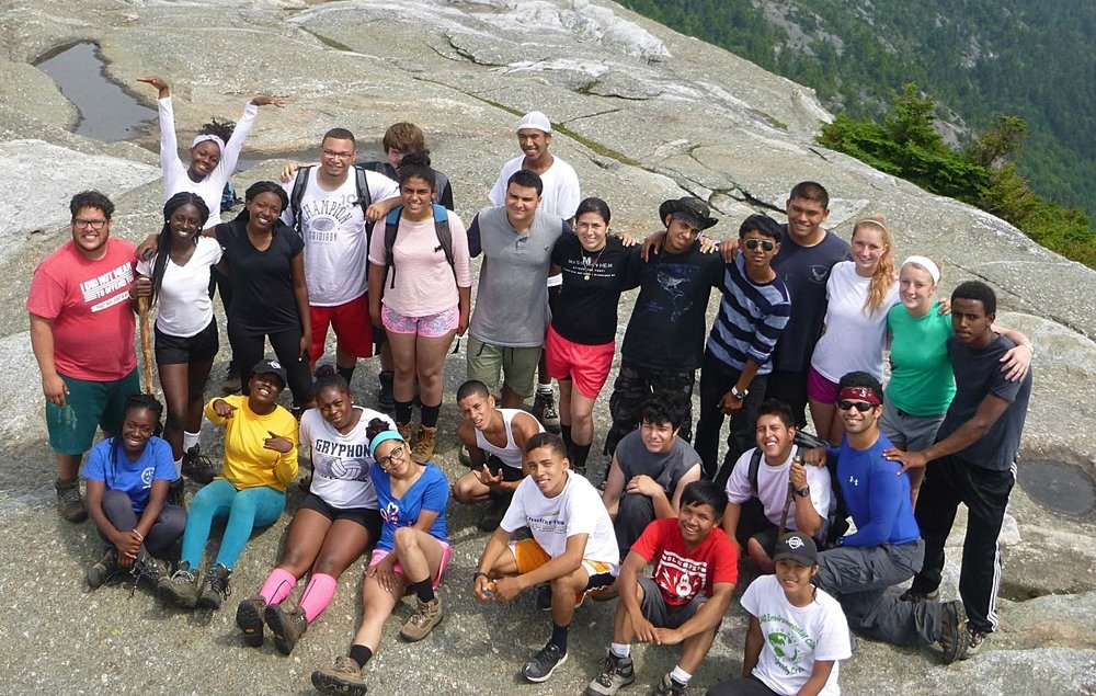 A YOP group at the summit of Mt. Cardigan. Photo courtesy AMC Youth Opportunities Program.