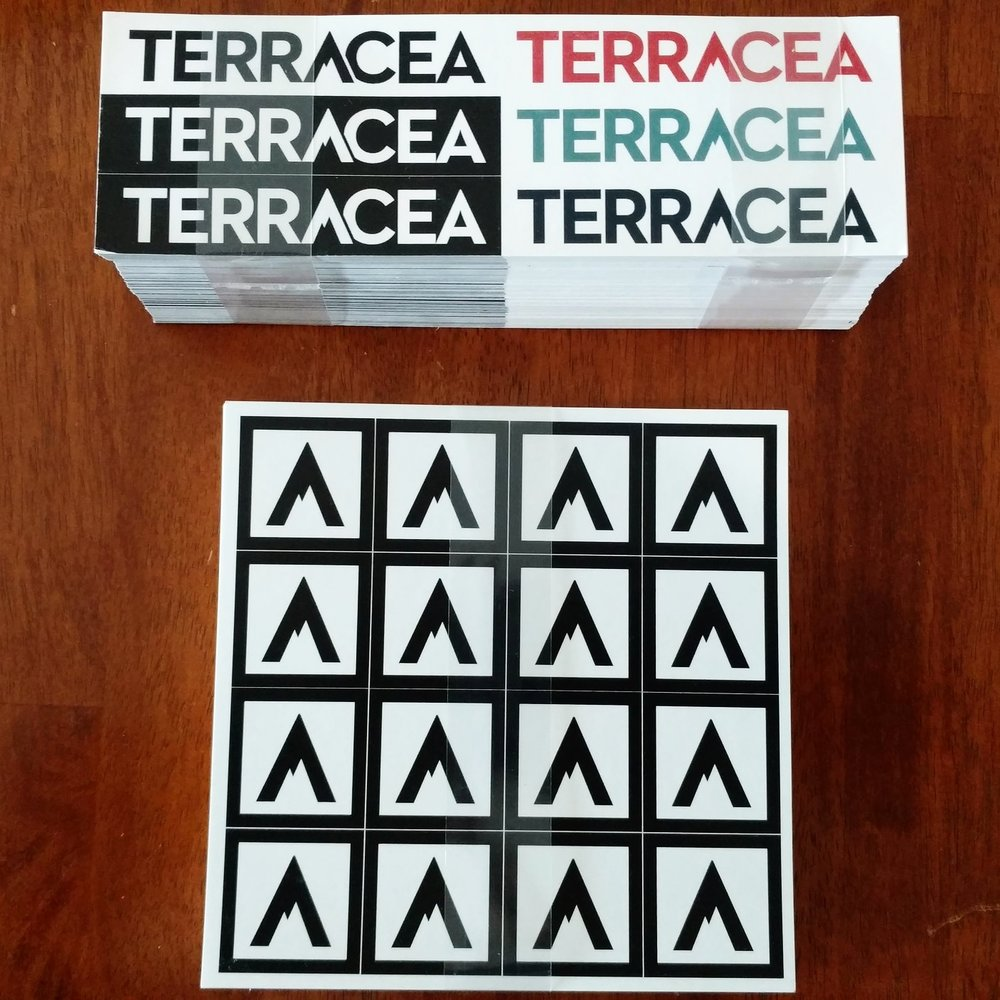 Terracea stickers, uncut and unfiltered.