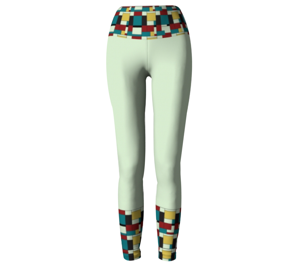 Beige Block Print           Leggings $45
