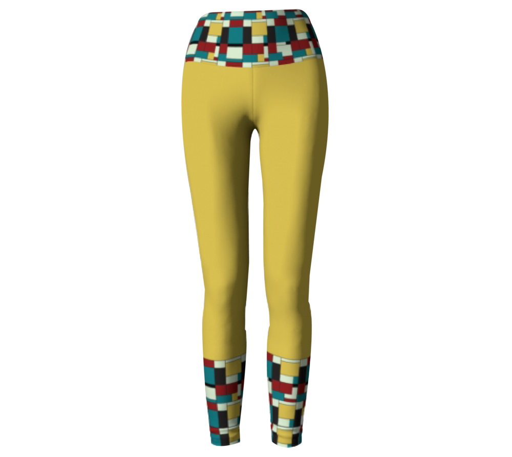 Yellow Block Print             Leggings $45