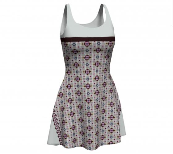 All-over Beige Diamond     Flare Dress #4 $65