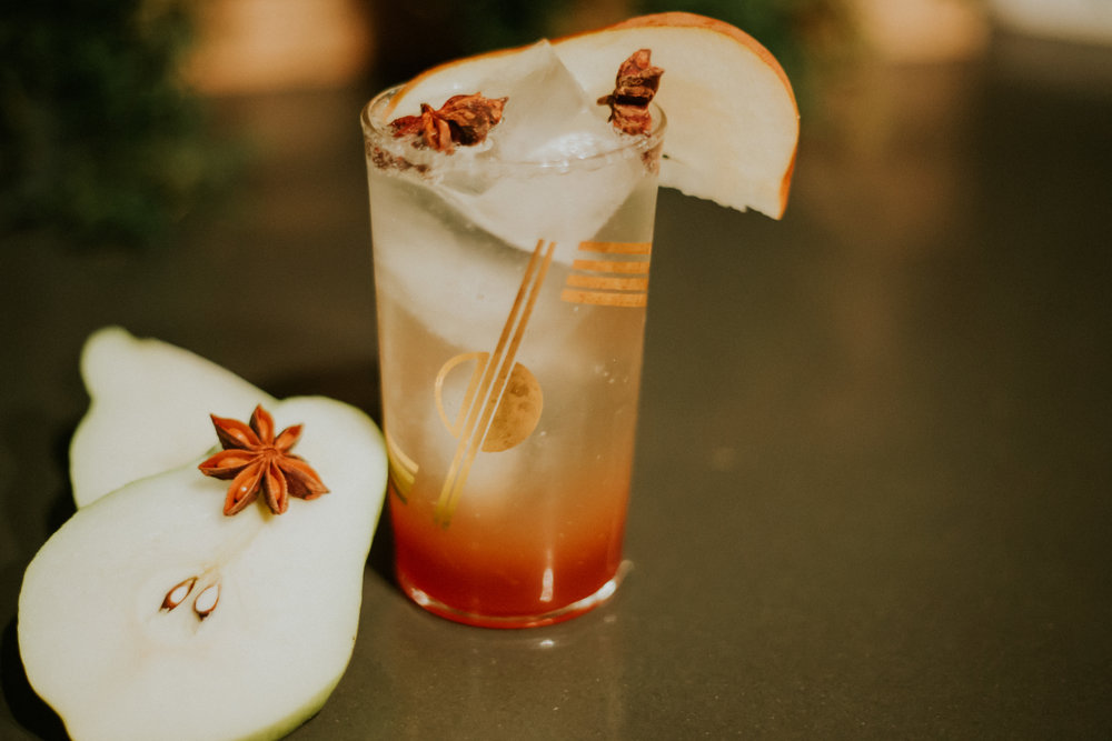 Pear & Ginger Spiced Cocktail. Photo by Markie Jones Photography