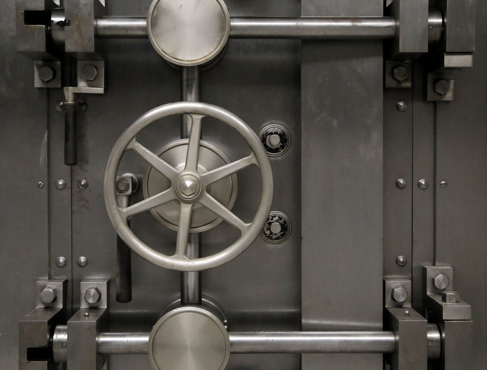 First National Auto Bank vault door.