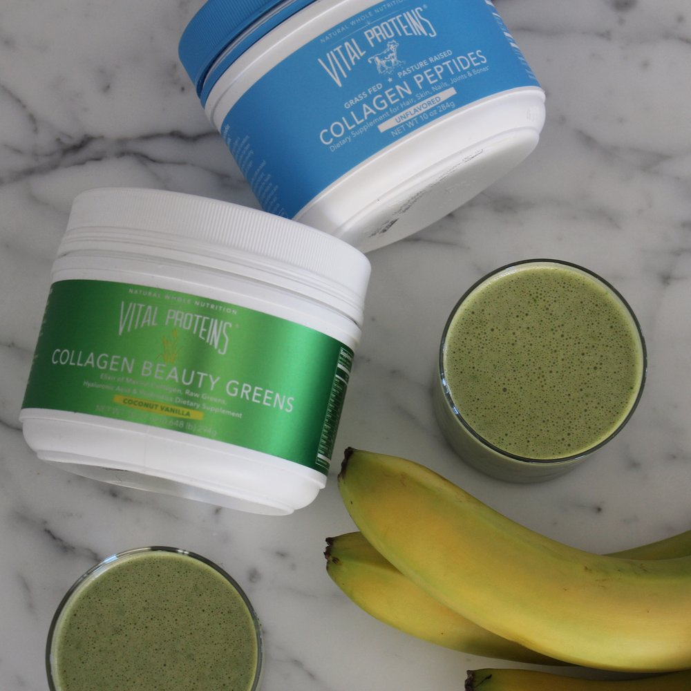We used the Vital Proteins Collagen Beauty Greens in their Coconut Vanilla flavor for our green juice and their Collagen Peptide Unflavored in our basic juice.