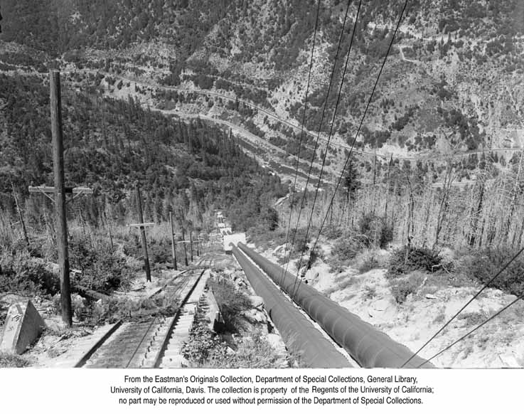 1955, Penstocks to Bucks Creek Powerhouse in the Feather RiverCanyon.jpg