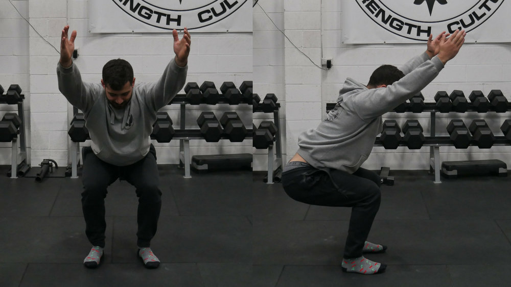 The bottom position of an Overhead Squat Assessment - Feet Under Hips, Toes Straight
