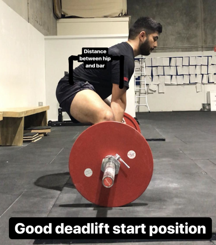 "A good starting position. Notice that the torso is about 45 degrees bent forward, hips are actually quite ""far"" from the bar."