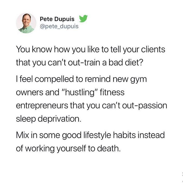 @pete_dupuis nailing 'gym owner musings' today.  Everything is a metaphor for life. Training and business ownership is no different, in most respects. #strengthculture #huntprogression